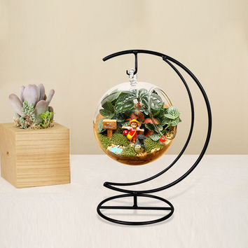 New 10 CM Handmade Ball Vase Heart Moon Iron Stand Simple Stylish Hanging Glass  Plant Vase Home Decor halloween