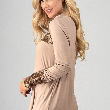 Long Sleeve Babydoll Top with Sequins Detail