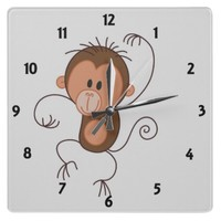Cute Dancing Monkey Wall Clock | Zazzle.co.uk