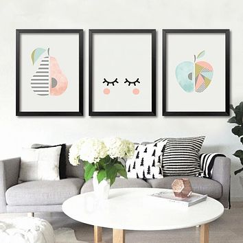 New Nordic Simple Cute Fruit pictures Art Prints Poster Wall Picture Canvas Painting No Framed for Living Room Home Decor sj