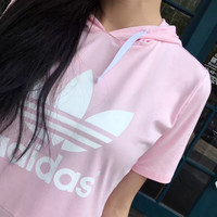 Adidas Women's Hooded Pink/Black Pullover Dress