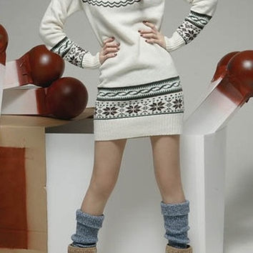 Deer Printing Long Sleeve Slim Jumper Sweater = 1919925956