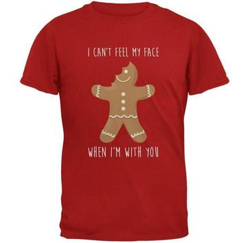 DCCKU3R Christmas Gingerbread Man Can't Feel My Face Mens Soft T Shirt