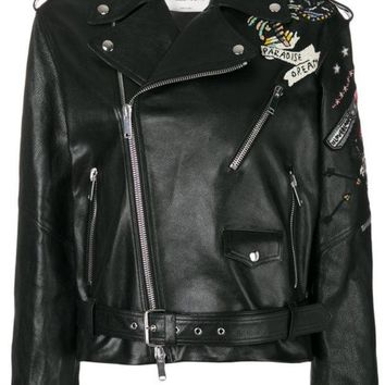 DCCKIN3 Valentino Tattoo Embroidered Biker Jacket