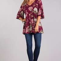 Floral printed jersey knit top