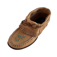 Women's Rubber Sole Moosehide Leather Moccasins with Fringe - B43166
