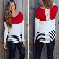 Crochet Detail ColorBlock Top - Red