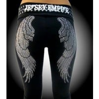 Bling Wings Yoga Pants W - Jersey Empire Womens - Jersey Empire