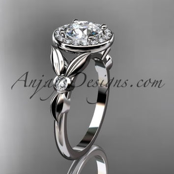 platinum diamond floral wedding ring, engagement ring ADLR129
