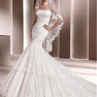 [245.99] Gorgeous Tulle Strapless Neckline Mermaid Wedding Dresses With Lace Appliques - Dressilyme.com
