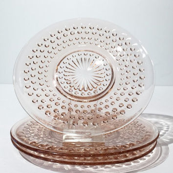 Set of 3 Pink Hobnail Glass Saucers