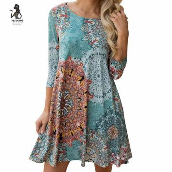2017 designs summer women beach dress Vintage Boho long sleeve O Neck Dress Floral Evening Party vestidos femininos#LRSO