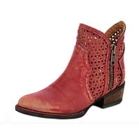 Circle G by Corral Red Cutout Shortie Boots