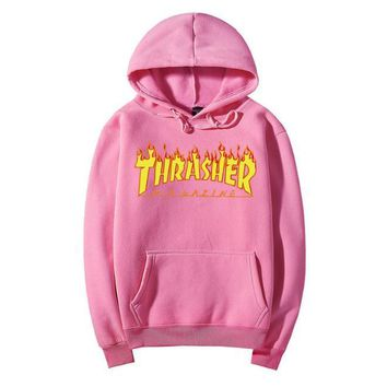 Men Women sportswear Thrasher hoodie flame skateboard dead fly west hip-hop  harajuku hooded dc040cad7b