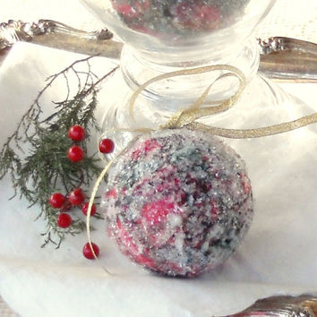 Handmade Red and Green Christmas Tree Ornaments, Set of 3, Decoupaged
