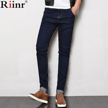 Riinr 2017 Fashion New Arrival Jeans Autumn&Winter High Quality Casual Pants Stretch Skinny Solid Color Full Length Mens Jeans