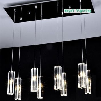 large dining room led  crystal pendant lamps 8 lights big crystal block Simple crystal pendant light kitchen led hanging light