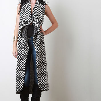 Belted Two-Tone Chevron Draped Longline Vest