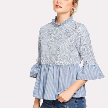 Floral Lace Applique Striped Smock Top