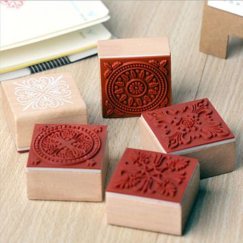 Vintage lace floral stamp DIY wooden rubber stamps for scrapbooking stationery scrapbooking standard stamp