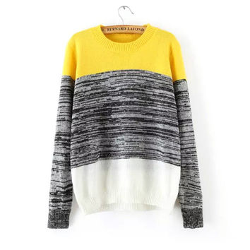 Pullover Knit Tops Stripes Slim Sweater [9255938887]