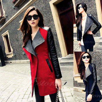 Warm Wool Blend Women's PU Leather Sleeve Long Coat Jacket Parka Trench Overcoat