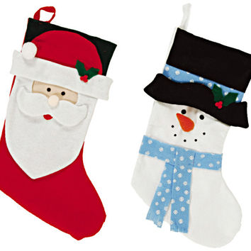 Felt Christmas Santa and Snowman Stockings Case Pack 72