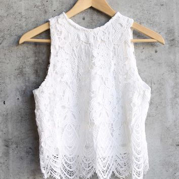 anastasia sleeveless lace crop top - off white