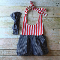 Baby Romper Fourth of July - matching head wrap, red, white and blue, baby outfit, independence day outfit