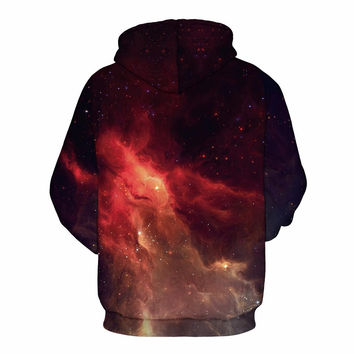Fashion Brand Clothing Men/Women Hoodies Space Galaxy Hooded 3d Sweatshirt With Cap Print Fire Casua