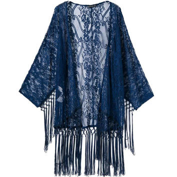 Summer Hollow Out Lace Tassels Patchwork Jacket Scarf Tops Rashguard [6651192641]