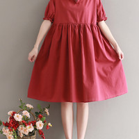 Vintage Women Short Sleeve High Waist Pure Color Dresses