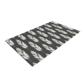 "Amanda Lane ""Feathers Black Cream"" Dark Pattern Woven Area Rug"