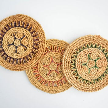 Vintage Round Woven Trivets - Three Large Circle Coasters