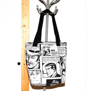Bolso tote en blanco y negro de Cómic estilo Roy Lichtenstein. Black and white big tote bag handbag comic style