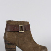 Women's Qupid Suede Contrast Hardware Round Toe Heeled Ankle Boots