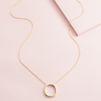 14k Rounded Rectangle Charm Necklace