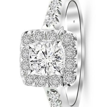 d.1.4 Carat 14K White Gold Square Halo Cushion GIA Certified Round Cut Diamond Engagement Ring (0.9 Ct D Color VS1 Clarity Center Stone)