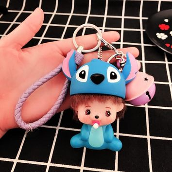 Super Mario party nes switch Film Series Lilo & Stitch Totoro  Cartoon KiKi Dolls Keychain Cute Monchicchi Key Rings Car Bag Charms Key Chains AT_80_8