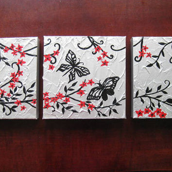 red black gray grey white silver triptych birds bird flowers art 3 canvases three painting panels wall paintings