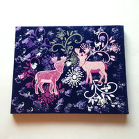 Pink deer and flowers acrylic canvas painting for home decor