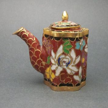 Vintage Cloisonne Enamel Miniature Teapot, Made in Beijing China, Tiny Floral Asian Tea Kettle, Burnt Sienna Brown & Gold with Lotus Flower