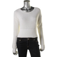 Bar III Womens Cotton Ribbed Trim Sweater