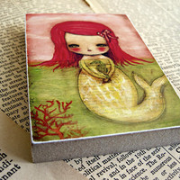 Seahorse and mermaid- ACEO Giclee Reproduction Mounted On Wood Block by Danita Art (2.5  x 3.5 Inches Print)