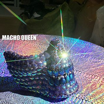 Holographic Mermaid Scale Mask Burning Man Half Face Skull Mask Costume Summer Musical Festival Rave Clothes Outfits Gear (green)