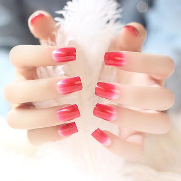 24 PCS Pink and Red Ombre Nail Art