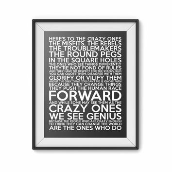Here's to the crazy ones, Steve Jobs quote, 8x10 digital print, black white, instant printable poster, typography, download, motivational