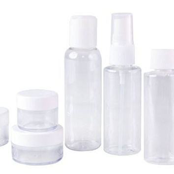 Set of 7 - Clear Plastic Travel Size Empty Bottles, TSA / Airline Approved