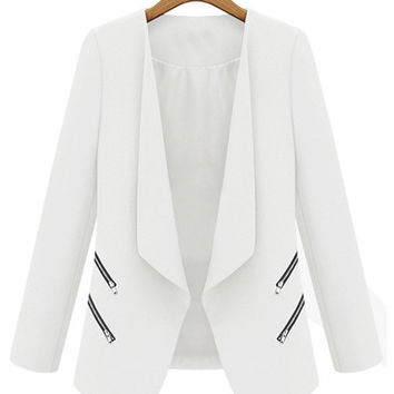 Long Sleeve Blazer with Zip Pocket