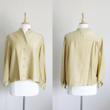 1950s Gold Lurex Victor Most Jacket Blouse // Small Medium